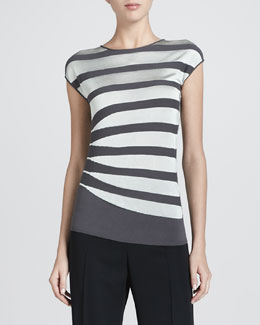 Armani Collezioni Asymmetric Contrast Striped Top, Gray/Mint