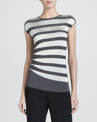 Asymmetric Contrast Striped Top, Gray/Mint