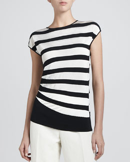 Armani Collezioni Asymmetric Contrast Striped Top, Black/White