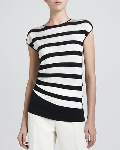 Armani Collezioni Asymmetric Contrast Striped Top, Black/White