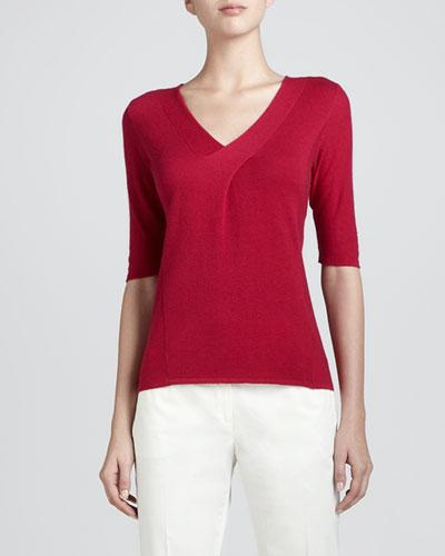Armani Collezioni V-Neck Cashmere Sweater, Raspberry