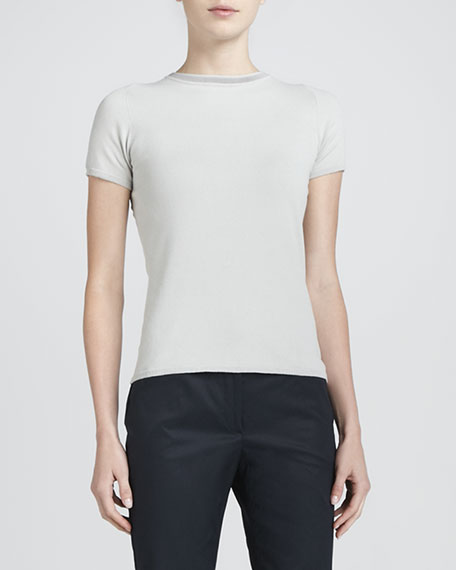 Trimmed Knit Top, Gray