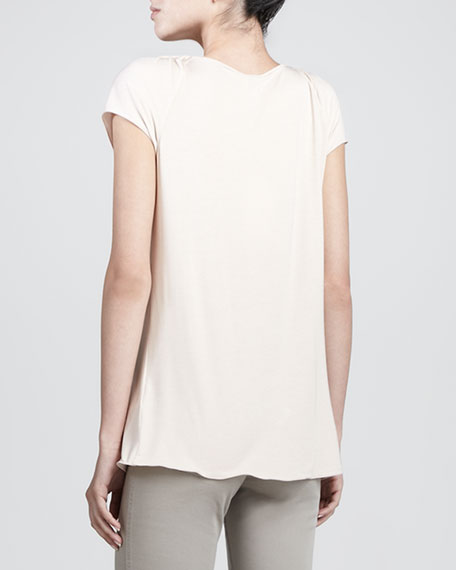 Featherweight Pleated-Neck Top, Rice