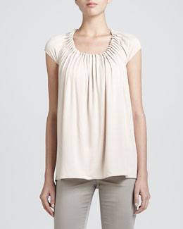 Armani Collezioni Featherweight Pleated-Neck Top, Rice