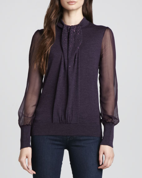 Abitha Knit/Silk Sweater, Plum