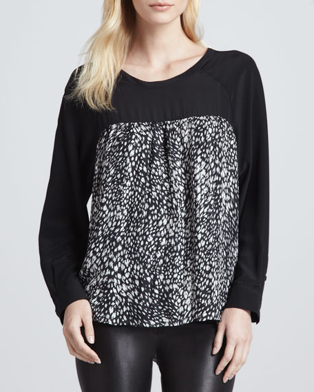 Solid-Top Printed Blouse