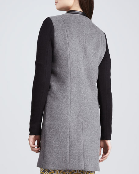 Felt Coat with Leather Trim