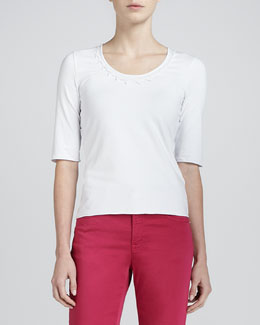 Armani Collezioni Half-Sleeve Jersey Top, White