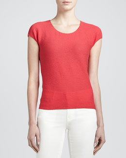 Armani Collezioni Textured Cap-Sleeve Jersey Top, Dragonfruit