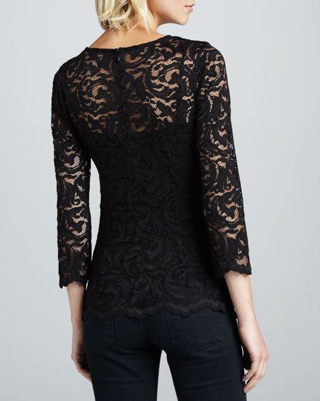 Long-Sleeve Stretch Lace Top