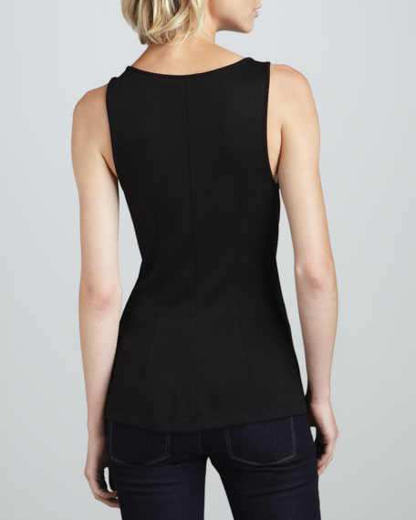 Studded Faux-Leather Knit-Back Top