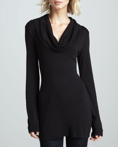 Long-Sleeve Cowl-Neck Top