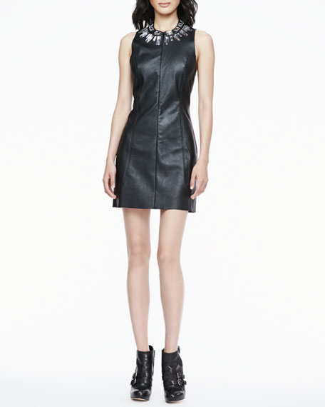 Crystal-Collar Faux-Leather Dress