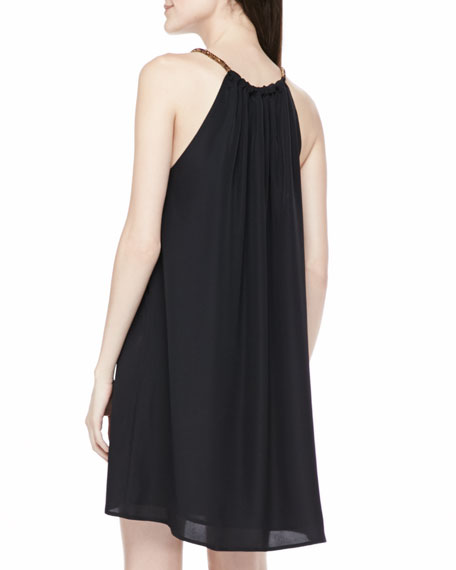 Cord-Neck Halter Dress