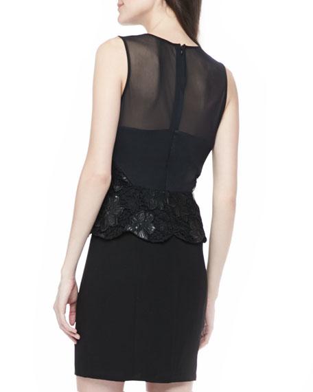 Lace-Top Combo Peplum Dress
