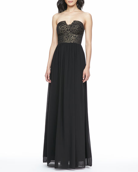 Caitlin Brocade-Bodice Gown