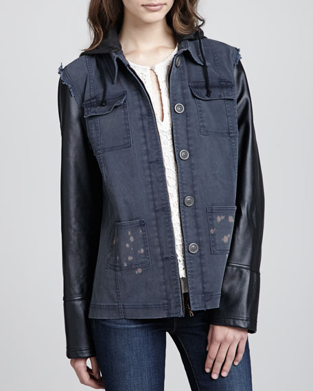 Hooded Faux-Leather-Sleeve Jacket