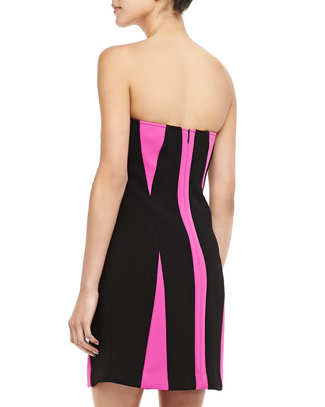 Two-Tone Strapless Paneled Dress