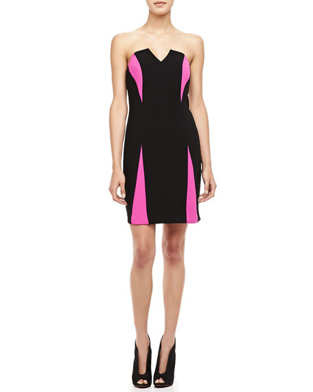 Two-Tone Strapless Paneled Dress
