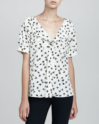 Short-Sleeve Bird-Print Blouse