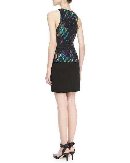 Print-Top Peplum Dress