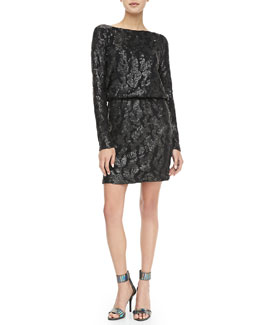 Charlie Jade Sequined Drape-Back Dress