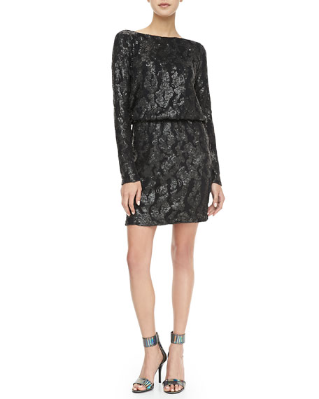 Sequined Drape-Back Dress