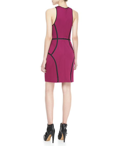 Faux-Leather-Trim Ponte Dress