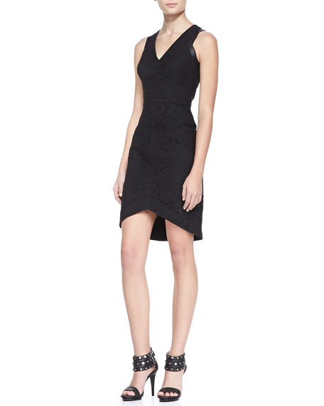 Aviana Faux-Leather & Lace Dress