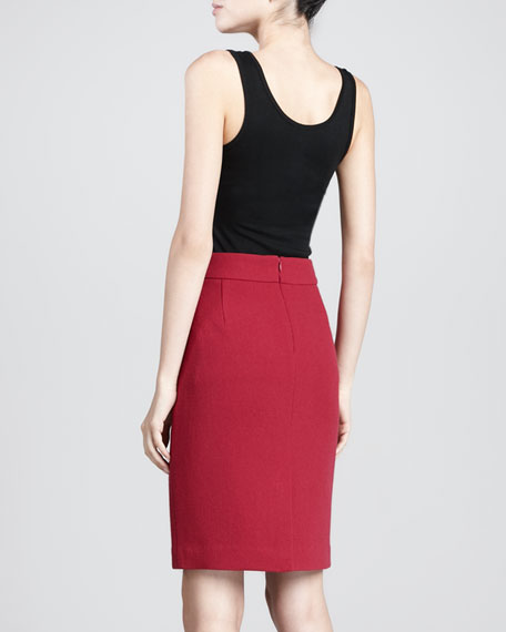 Crepe Pencil Skirt, Rasperberry