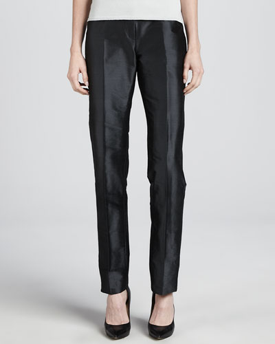 Armani Collezioni Silk-Blend Wide-Leg Pants, Slate