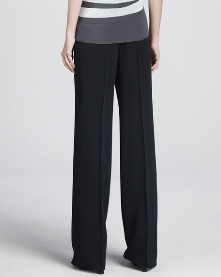 Faille Wide-Leg Pants