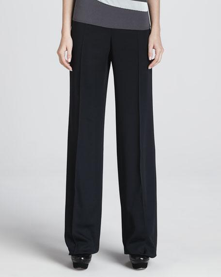 Faille Wide-Leg Pants