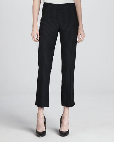 Armani Collezioni Cropped Pinstripe Pants, Midnight