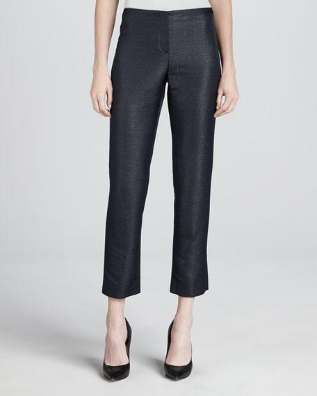 Ottoman Cropped Flat-Front Pants
