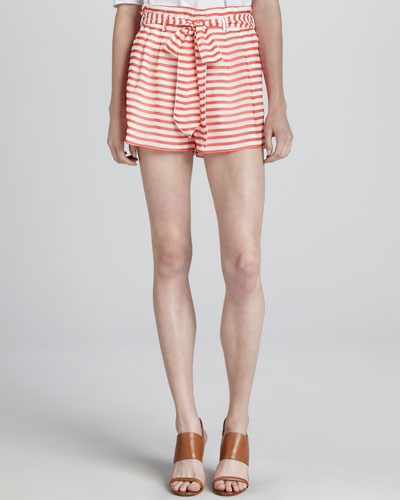 Armani Collezioni Nautical Striped Belted Shorts