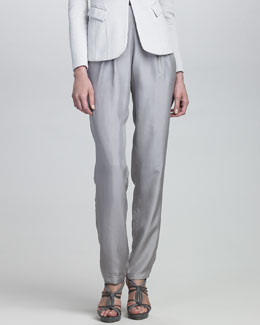 Armani Collezioni Pleated-Front Silk Pants