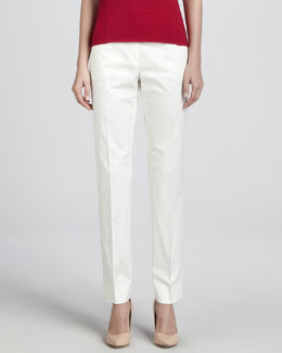Armani Collezioni Cotton Twill Sport Pants, Off White