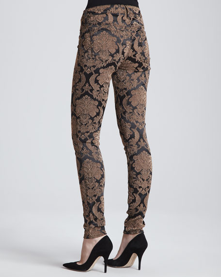 The Skinny Feathered Jacquard Jeans