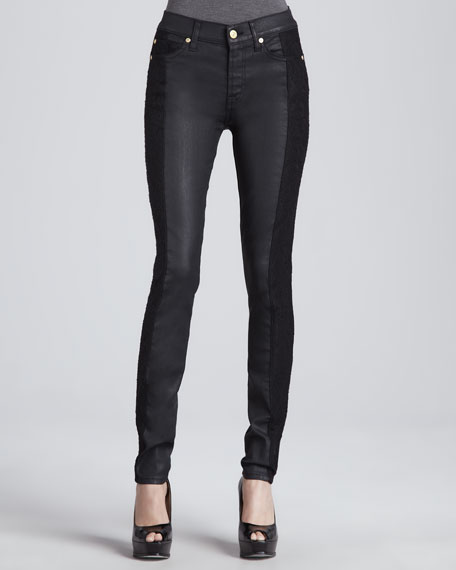 Lace-Panel Skinny Jeans