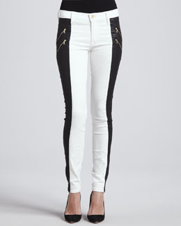 7 For All Mankind Two-Tone Double-Zip Jeans