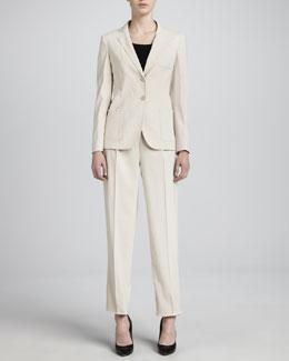 Armani Collezioni Pique Pant Suit, Rice