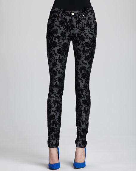 Floral-Velvet Skinny Jeans