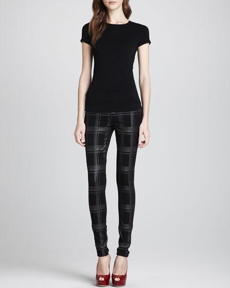 The Skinny Plaid Metallic Pants