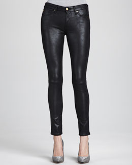 7 For All Mankind Leather-Like Skinny Jeans, Black