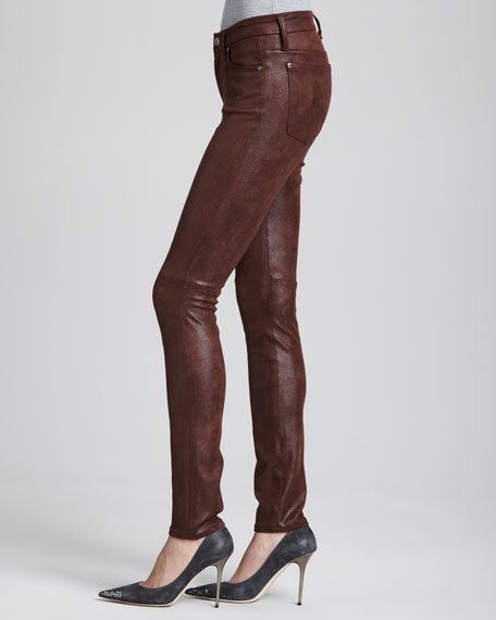 Leather-Like Skinny Jeans, Wine