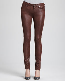 7 For All Mankind Leather-Like Skinny Jeans, Wine