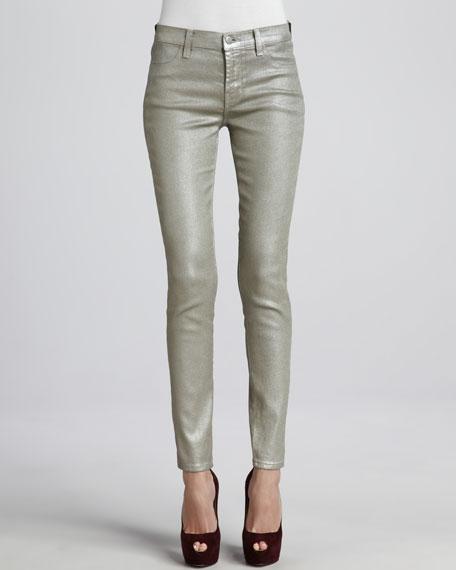 Mid-Rise Super-Skinny Metallic Jeans