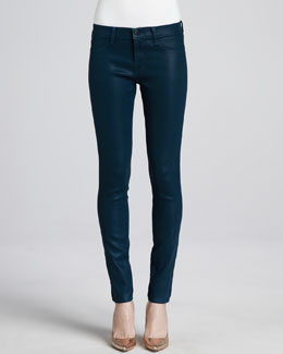 J Brand Jeans Lacquered Hemlock Low-Rise Coated Jeans