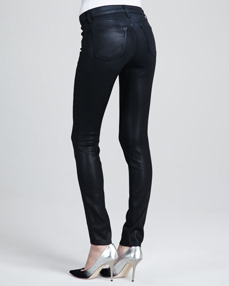 Mid-Rise Coated Jeans